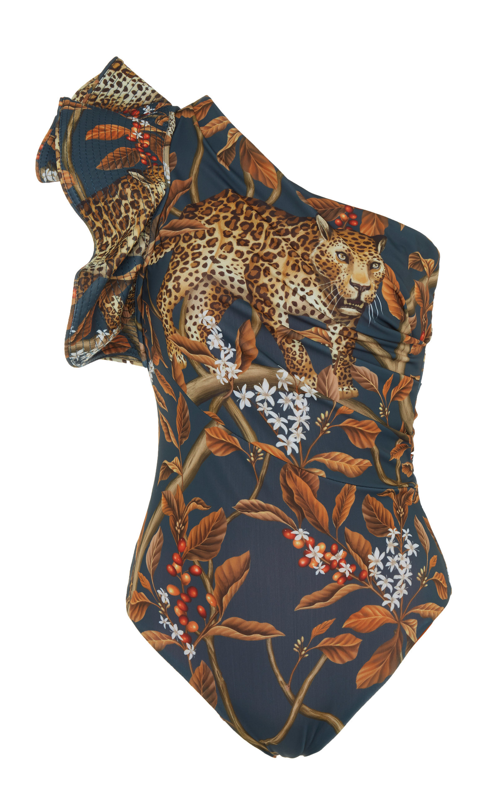 Indonesian Desire Printed One-Shoulder Swimsuit | $545