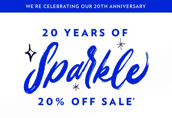 We're Celebrating Our 20th Anniversary With 20% Off For You!