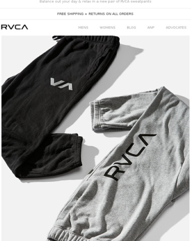 New Sweatpants from RVCA Sport