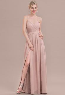 A-Line/Princess Sweetheart Floor-Length Chiffon Bridesmaid Dress With Ruffle Split Front (007117361)