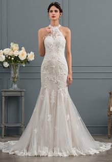 Trumpet/Mermaid Scoop Neck Chapel Train Tulle Wedding Dress (002134805)
