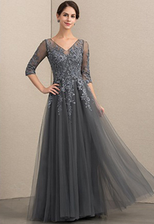 A-Line V-neck Floor-Length Tulle Lace Mother of the Bride Dress With Beading Sequins (008152148)