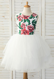 A-Line Knee-length Flower Girl Dress - Satin/Tulle Sleeveless Scoop Neck With Beading/Bow(s)/Back Hole (010183548)