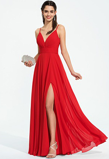 A-Line V-neck Floor-Length Chiffon Prom Dresses With Ruffle Split Front (018187197)