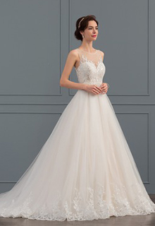 Ball-Gown/Princess Illusion Court Train Tulle Lace Wedding Dress With Beading Sequins (002134799)
