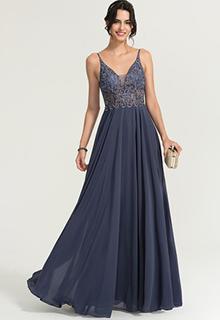 A-Line/Princess V-neck Floor-Length Chiffon Prom Dresses With Beading (018186894)