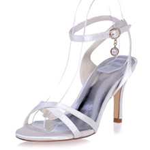 Women's Satin Stiletto Heel Peep Toe Sandals Slingbacks With Buckle Imitation Pearl (047068286)