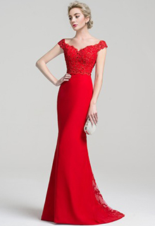 Trumpet/Mermaid Off-the-Shoulder Sweep Train Chiffon Lace Evening Dress With Beading Sequins (017094032)