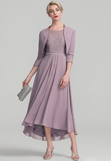 A-Line/Princess Scoop Neck Asymmetrical Chiffon Lace Mother of the Bride Dress With Beading (008118940)