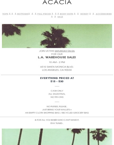 L.A. WAREHOUSE SALE