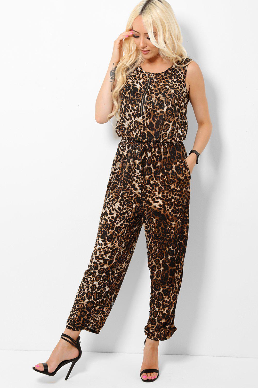 Zip Front Leopard Print Jumpsuit