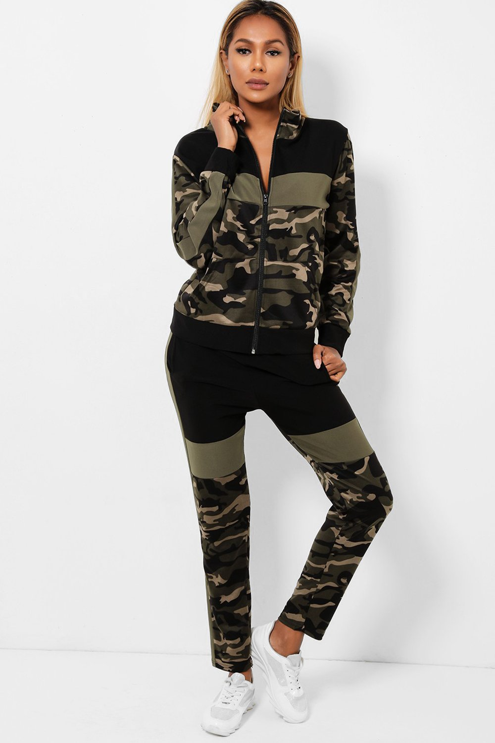 Green Camouflage Print Two Piece Tracksuit