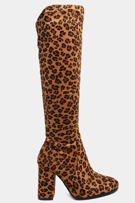 Knee High Leopard Print Vegan Suede Heeled Boots