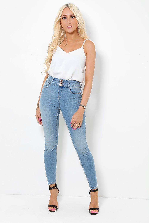 Gold Buttons High Waist Light Blue Skinny Jeans
