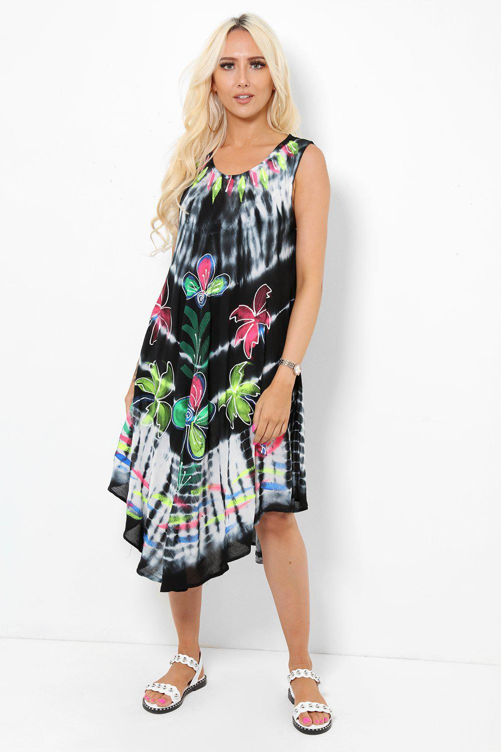 Embroidered Tie Dye Black Summer Dress