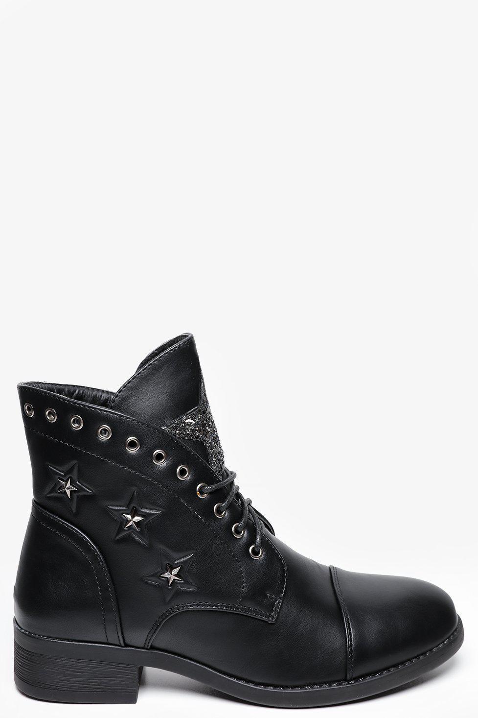 Glitter Star And Studs Black Boots