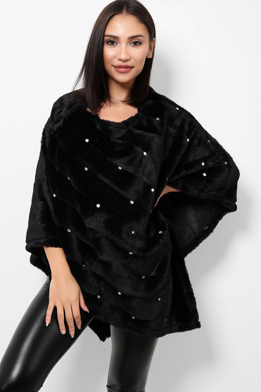 Black Faux Fur Embellished Slip On Poncho