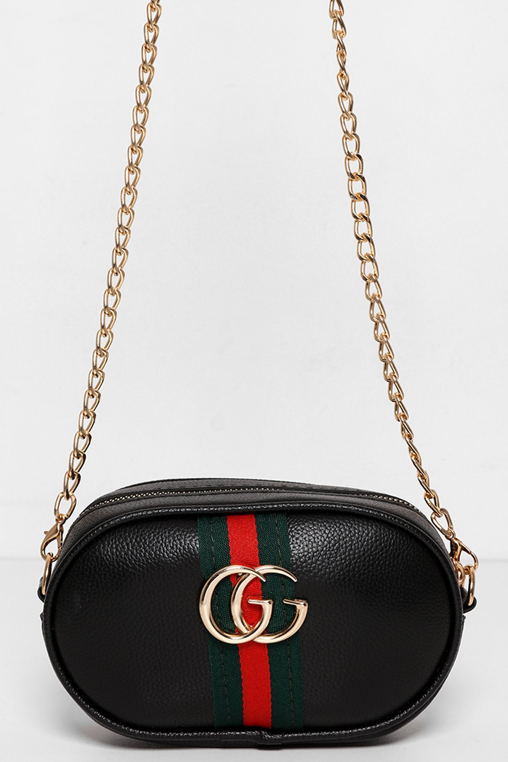 Stripe Detail Black Mini Bumbag Shoulder Bag