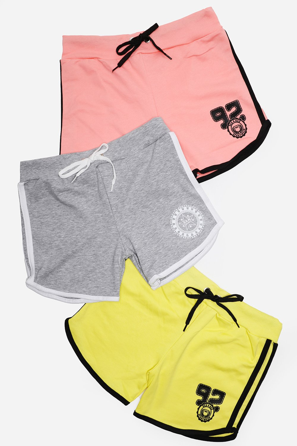 Pack Of 3 Pink Grey Yellow Hotpants Set