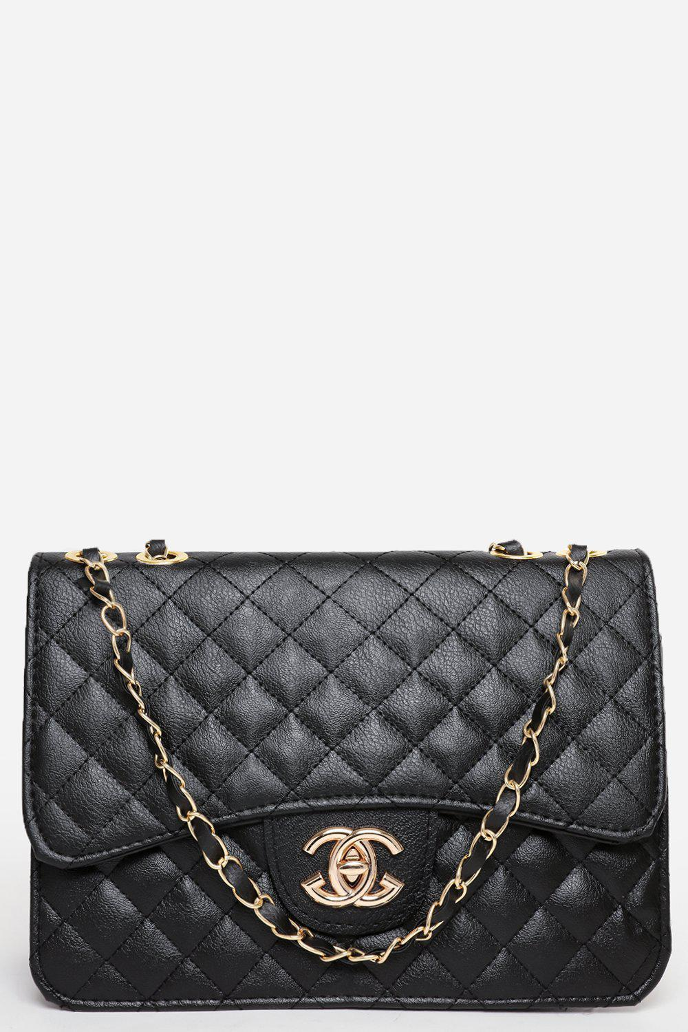 Gold Chain Strap Curved Flap Quilted Black Handbag
