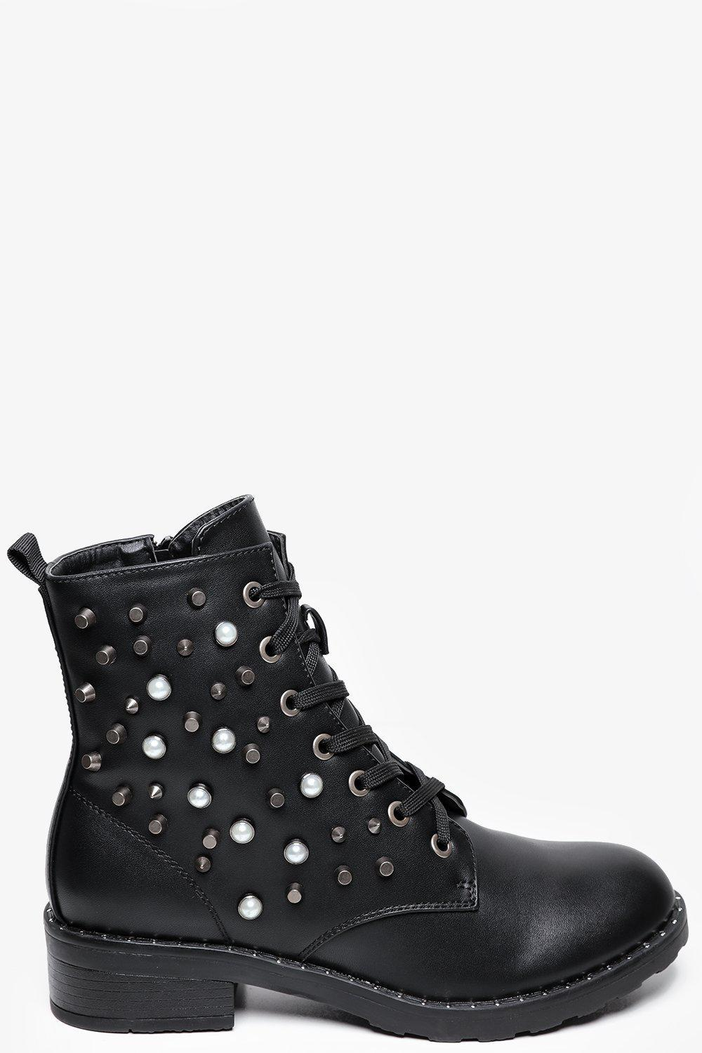 Studs And Pearls Embellished Biker Boots