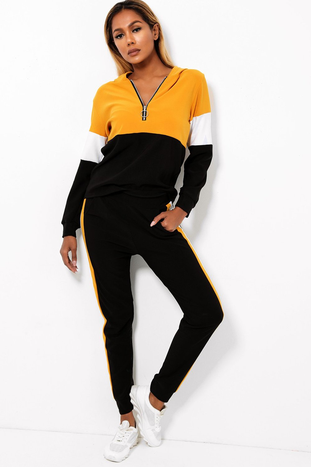 Mustard Colour Block Two Piece Tracksuit