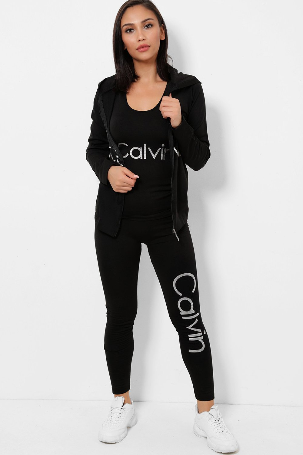 Silver Foil Print Fleece-back Stretchy 3 Piece Tracksuit