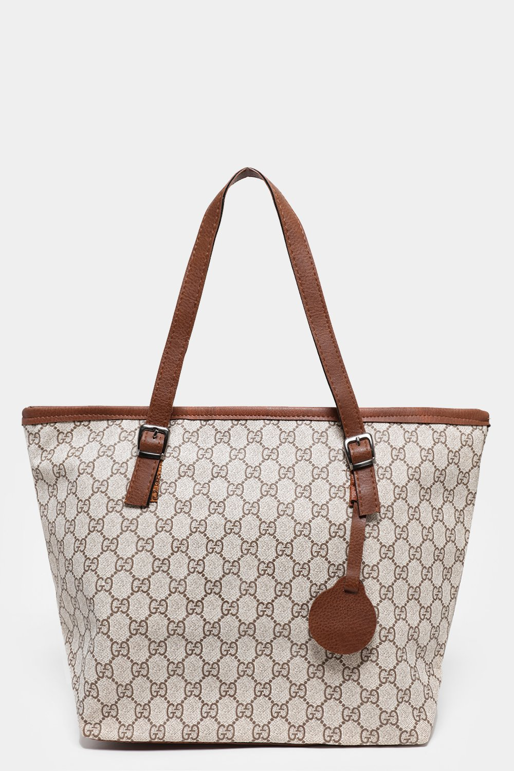 Logotype Print Cream Large Tote Bag