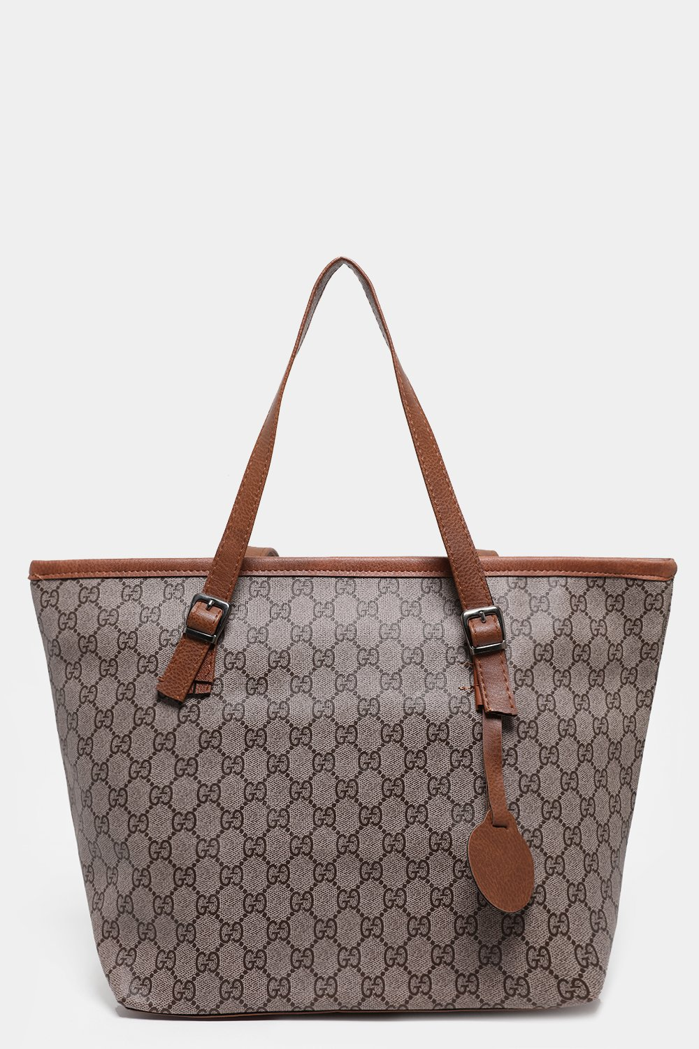 Logotype Print Chestnut Large Tote Bag