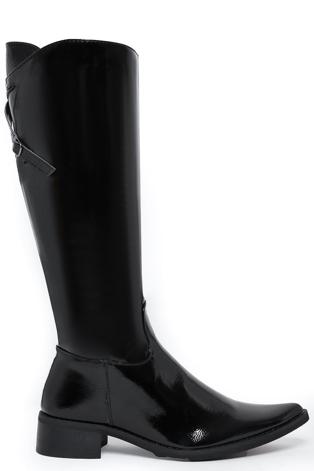 Textured Patent Point Toe Knee High Boots
