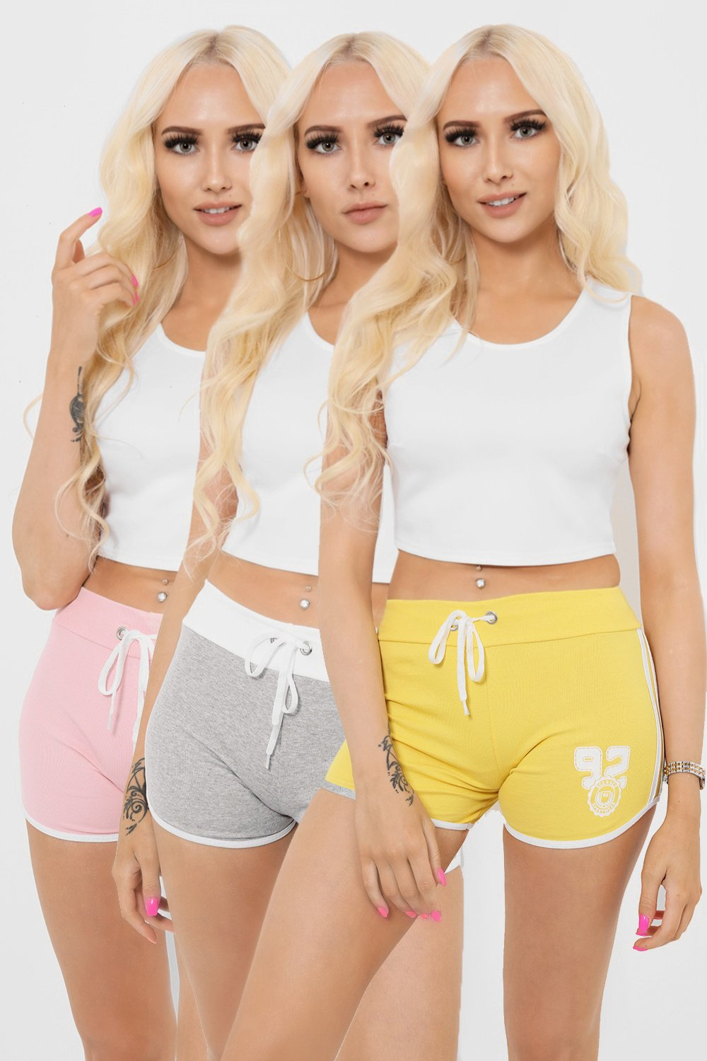 White Trim Drawstring Waist Shorts Set Of 3