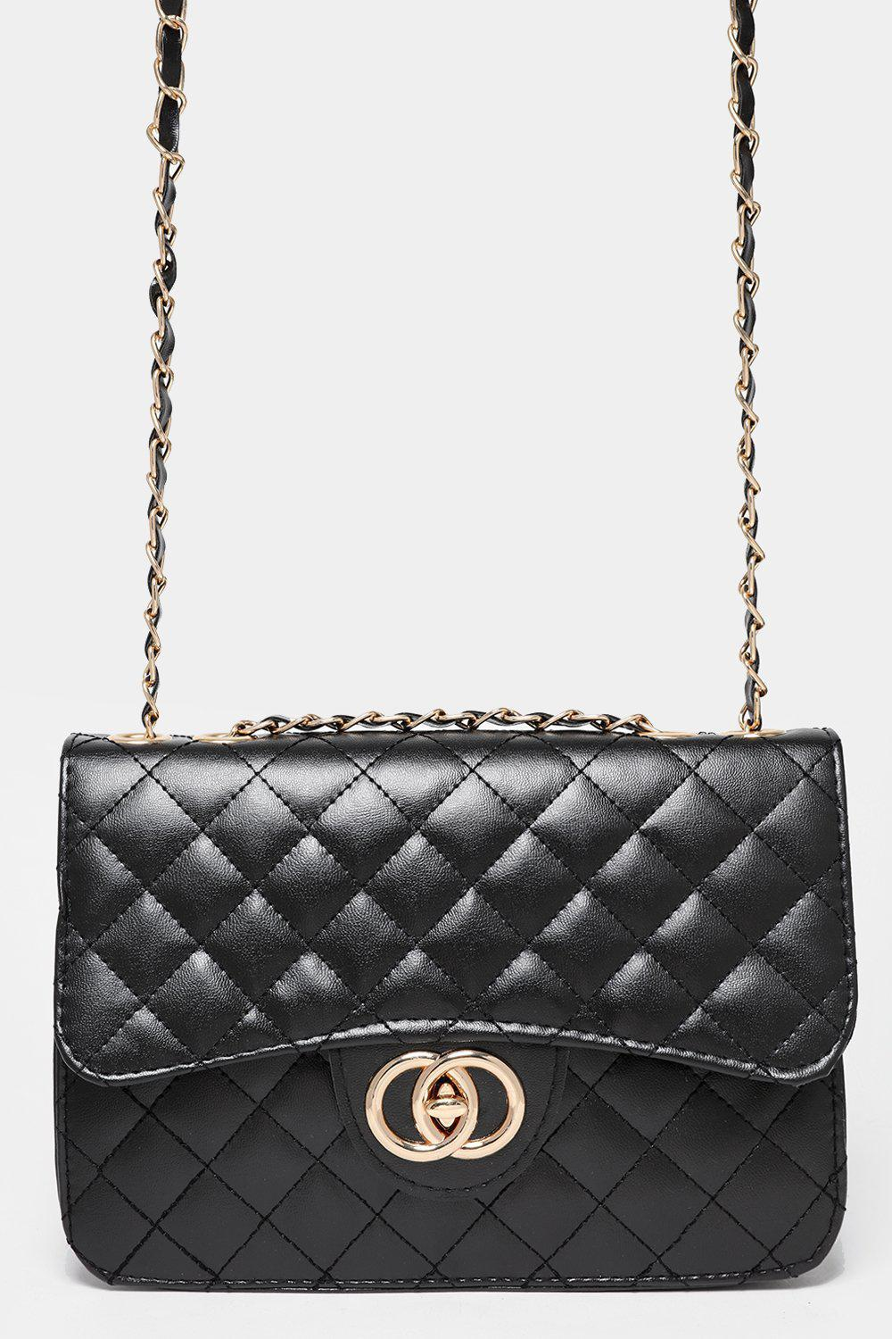 Gold Chain Strap Quilted Black Handbag
