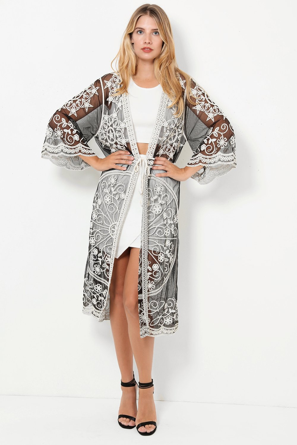 Black Mesh Embroidered Cardigan