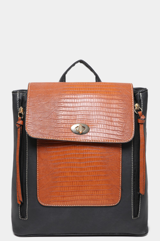 Brown Mock Croc Vegan Leather Black Backpack