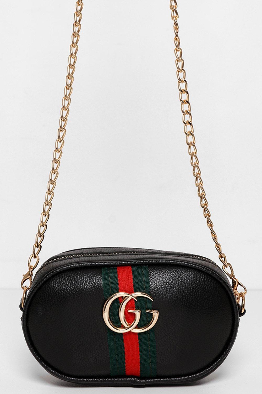 Stripe Detail Black Mini Bumbag Shoulder Bag