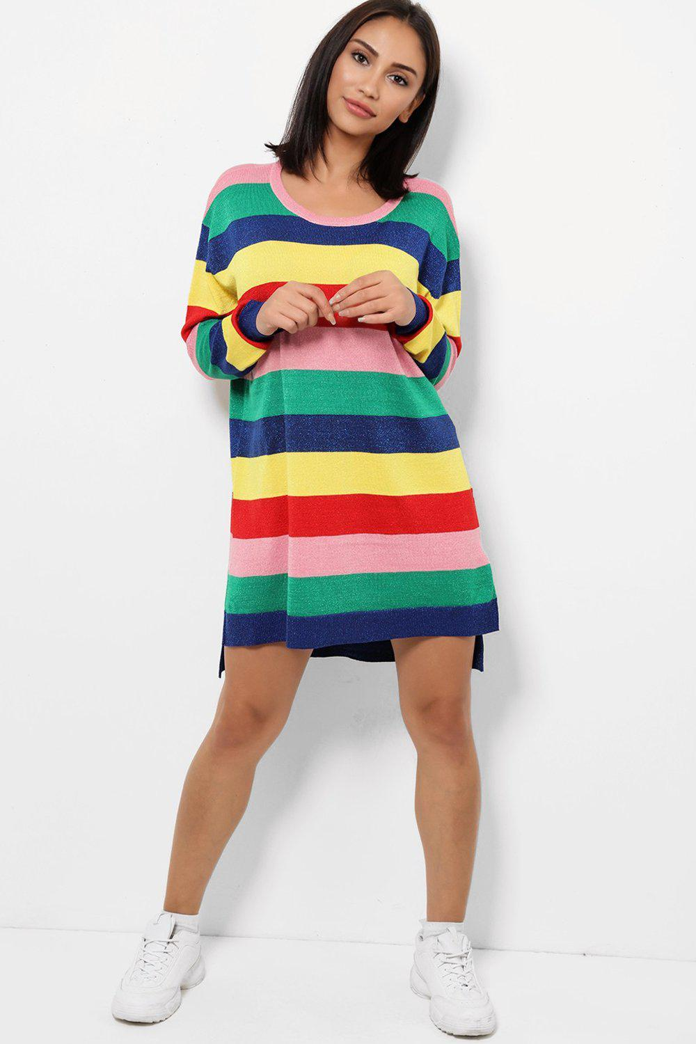 Multicolour Knitted Sweater Dress