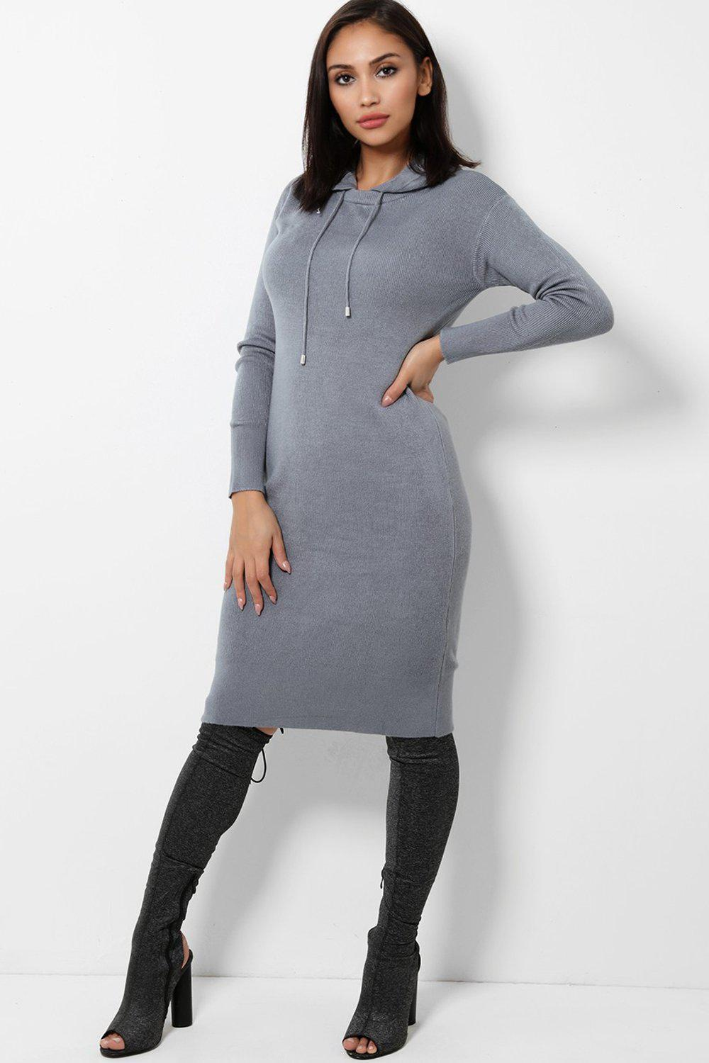 Grey Knitted Midi Dress With Hoodie