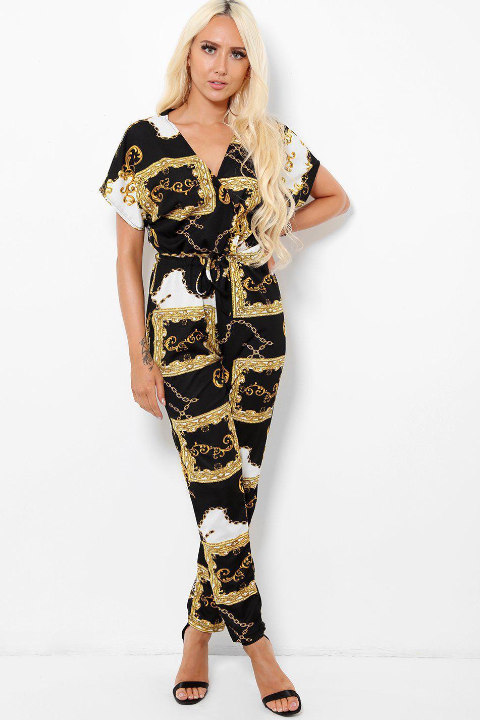 Black Baroque Print V-Neck Jumpsuit