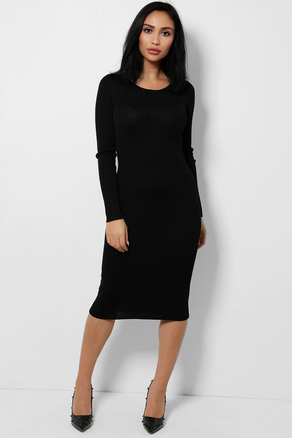 Black Light Knit Shimmer Midaxi Dress