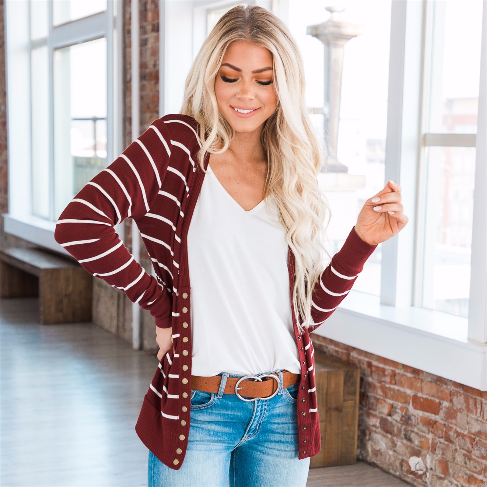 Striped Ribbed Snap Cardigan | S-3XL