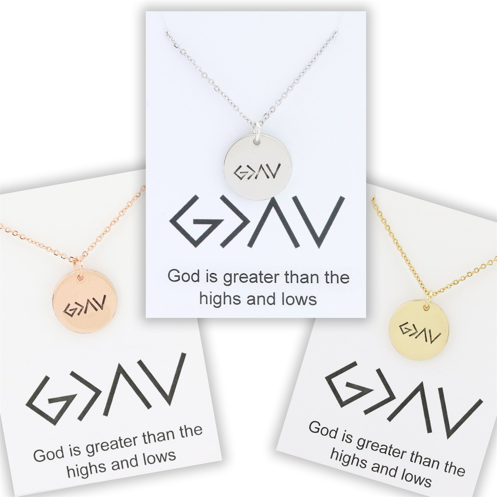 God is Greater Necklace & Card
