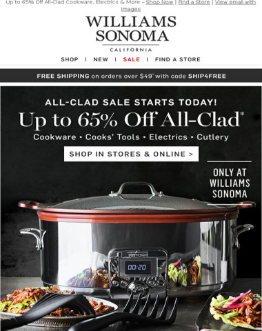 ALL-CLAD EVENT! Up to 65% Off Electrics, Cookware, Bakeware & Tools