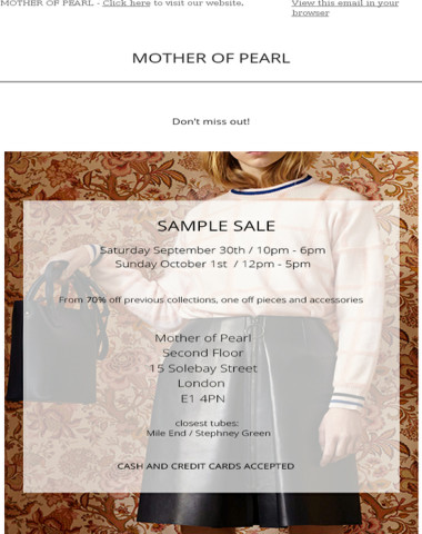 Sample Sale | Mother of Pearl