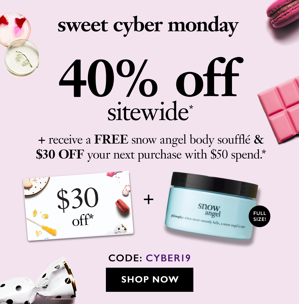 Suprise! sweet cyber monday savings continue 40% off site