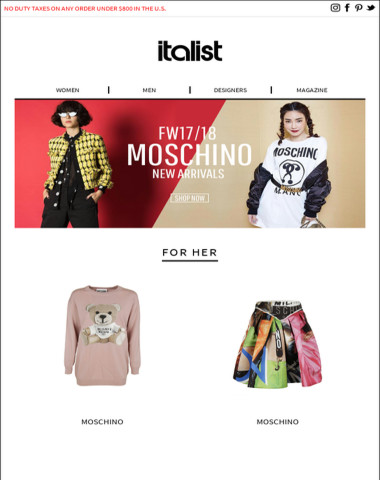 - 30% Off Any Other Store: Shop FW17/18 Moschino's Latest  Collection