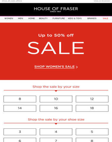 Up to 50% off looks good on you | Shop sale by your size