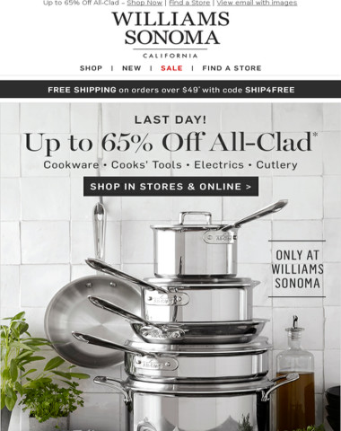 Up to 65% Off All-Clad Ends Tonight