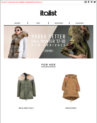 NewMr & Mrs Italy FW17/18 Arrivals!Women's Night Out Parka! -30 Off any other Store.