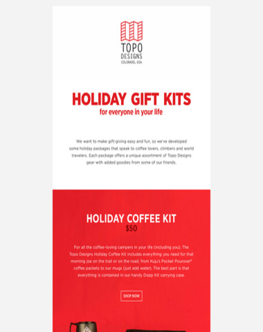 Topo Designs Holiday Gift Kits