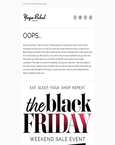 Ooops, sorry for any Black Friday confusion !